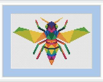 Cross stitch pattern geometric, cross stitch pattern bee, cross stitch pattern insect, cross stitch pattern modern, cross stitch pattern