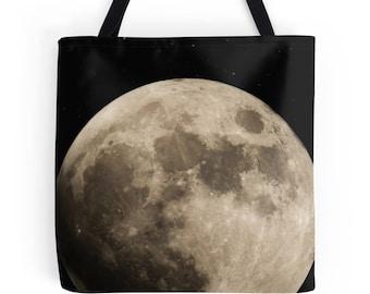 Moon bag, moon tote, moon shoulder bag, black bag, shopping bag, everyday bag, grocery bag, book tote, kids bag, space bag, stocking filler
