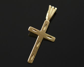 14k Art Carved Cross Pendant Gold