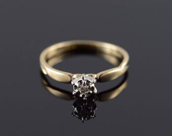 10k Genuine Diamond Solitaire Promise Engagement Ring Gold