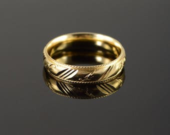 14k Beautiful Carved Engraved Fancy Wedding Band Men's Ring Gold