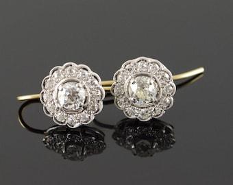 14k 1.92 CTW Diamond Art Deco Two Tone Hook Earrings Gold