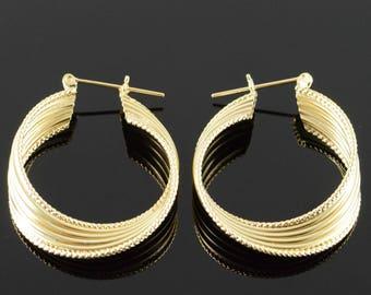 14k Twist Tube Hollow Earrings Gold