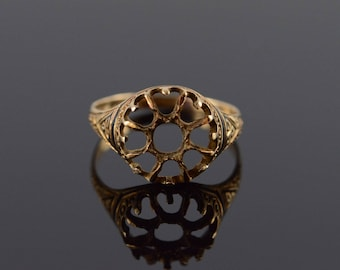 10k Victorian Setting Mounting Black Enamel Ring Gold