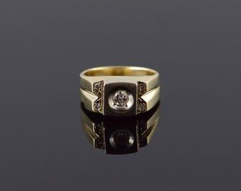 14k Retro 0.26 CTW Diamond Bling Ring Gold