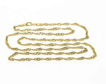 14k 1.8mm Pressed Rolling Curb Link Chain Necklace Gold 18""