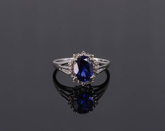 10k 2.54 Ctw Sapphire* Diamond Oval Starburst Halo Ring Gold