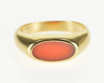 14k Oval Coral Flush Bezel Inset Statement Ring Gold