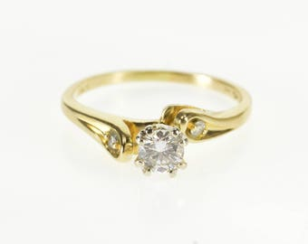 14k 0.35Ctw Three Stone Diamond Bypass Engagement Ring Gold