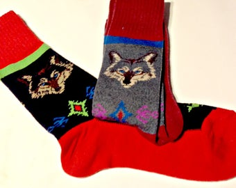 Art Socks, Gift for Men, Fun Socks, Wolf Design, Hot Dog Design,Cute Santa Dachshund, Fun Artsy Socks, Gift for Men