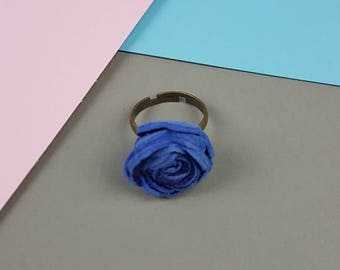 Leather Rose Statement Ring