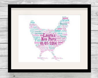 Personalised Hen Word Art Print Hen Party Hen Do Bespoke Typography, Bride to Be
