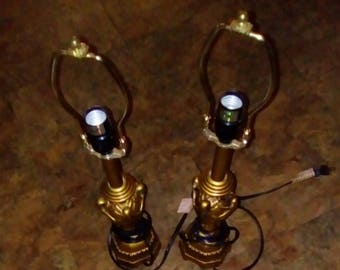 Vintage Pair Unusual 14.5 Inches Golden Bronze Lacquered Chalkware Bedroom  Lamps