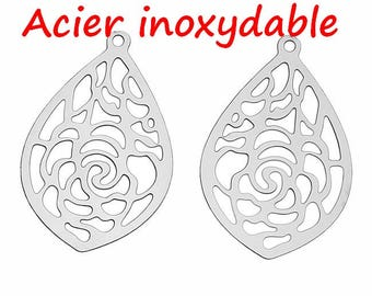 10 pendants drop prints carved ref 6947 in stainless steel