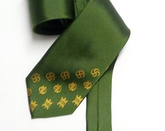 Green Adinkra Symbol Silk Cloth Necktie, AfroNeckties Mens African Clothing Hand Printed Adinkra Tie, Gye Nyame Clothing