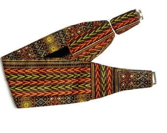 Red Dashiki cummerbund, Mens African Print Cummerbund, African Dress Cummerbund Mens African Clothing