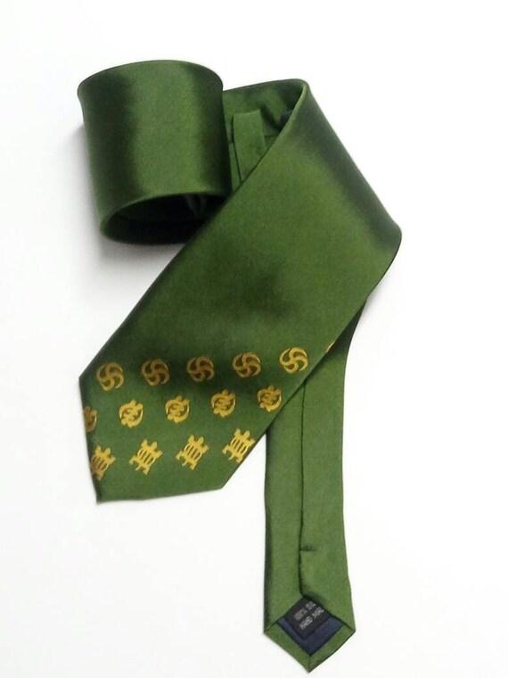 AfroNeckties Green Silk African Adinkra Necktie