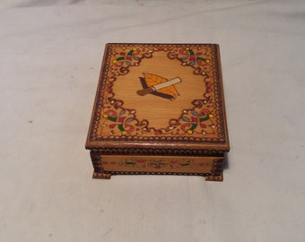 Vintage 1970's Handmade Wooden Cigarette Box - NEW