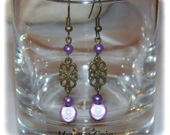 Earring filigree bronze and purple