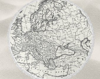 Vintage Europe Map  over-sized round beach towel