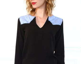 black and sky blue blouse long sleeve Scoop Neck