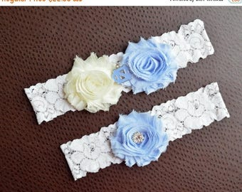 ON SALE North Carolina Tar Heels Wedding Garter Set, North Carolina Bridal Garter Set, Ivory Lace Garter, University of North Carolina, UNC