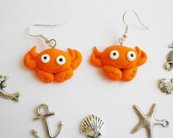 beach vacation theme orange crab earrings