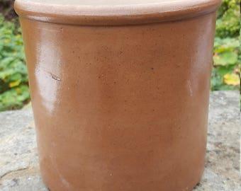 French Vintage Stoneware pot / French Stoneware Jar / Earthenware Crock / Kitchen Utensil Jar / Kitchenalia / Stoneware jar / Kitchen Pot