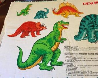 VIP Print Cranston Dinosaurs Applique No Sew T-Rex Brontosaurus Stegosaurus Triceratops Fabric Panel Boy Sweat Shirt Blanket Birthday Gift