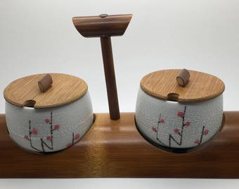 Ito's Bamboo Crafts Cherry Blossoms Condiment Dish With Wood Caddy  Carry Tray Holder Stand Made In Japan Replacement