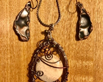 Wire Wrapped Necklace and handmade Copper Earrings