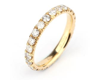 18K White Gold Diamond Eternity Wedding Ring/ Simple, Stackable Natural Pave Diamond Wedding Ring/ Custom Gold Jewelry Gift for Her