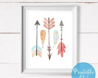 Boho Chic Nursery Wall Art, Boho Tribal Nursery, Arrows and Feathers Printable, Above Crib Decor, Kids Room Decor, Instant Download