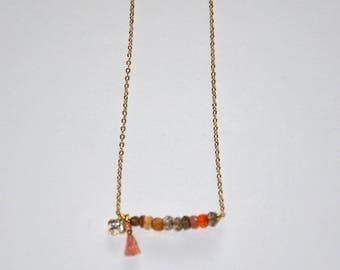 Gold-plated necklace, faceted Opals beads, gold-plated mini clover paved Zircons, peach pink tassel