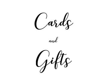PRINTABLE Cards and Gifts Sign