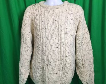 Men's Arancrafts chunky knit fisherman sweater  made in Ireland size XL