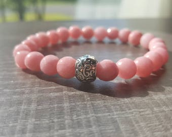 Gems of rhodonite with silver accent Bead Bracelet