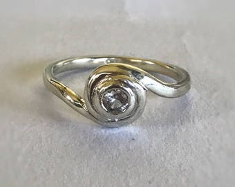 White sapphire engagement ring recycled silver