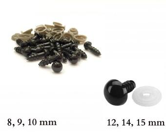 8 mm, 9 mm, 10 mm, 12 mm, 14 mm, 15 mm, Safety Eyes - Black safety eyes (2 pairs) (5 pairs) (10 pairs)