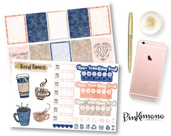 Coffee Swirl Weekly Planner Sticker Kit | Erin Condren Planner Stickers | Any Planner Stickers