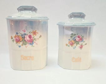10% OFF Sugar and porcelain coffee pots, canisters , jars , kitchen decoration, ceramic containers, pots, French country cottage