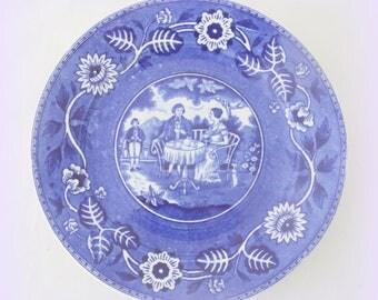 Set of Four Vintage Société Ceramique Maestricht 'Tea Drinker' Breakfast Plates, Blue Transfer Ware, Tea Drinking Couple and Flower Decor
