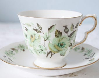Colclough Bone China Cup and Saucer, Green Flower Pattern, Made in England