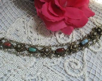 Vintage Costume Jewelry Bracelet~~Vintage Bracelet~~Stone Bracelet
