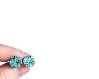 Green Stud Earrings - Green earrings - fern earrings