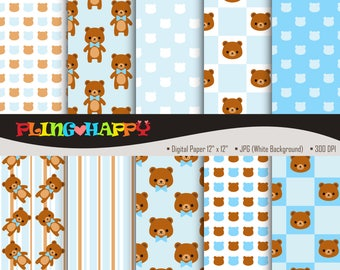 70% OFF Teddy Bear Blue Digital Papers, Teddy Bear Blue Digital Papers Graphics, Personal & Small Commercial Use, Instant Download