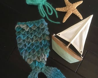 Knit and Crochet Mermaid Tail and Bonnet Newborn Photo Prop Set in Blue Green Colorway