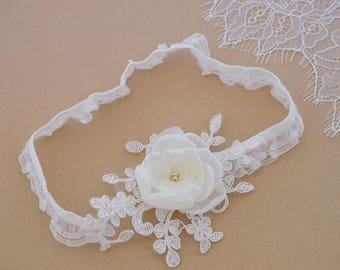 Wedding Garter with Chiffon flower and lace, Bridal garter, Keepsake garter
