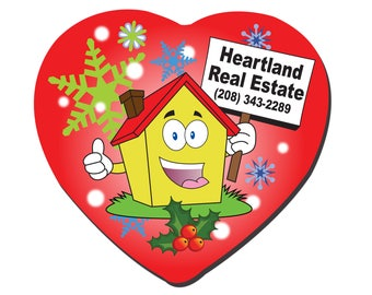 Real Estate Agent Broker Personalized Christmas Holiday Heart Ornament Double Sided