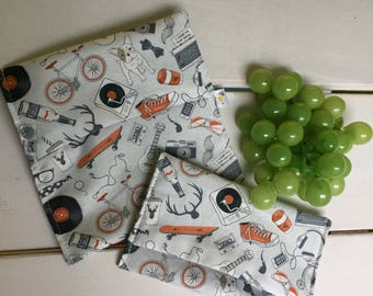 DUO snack and sandwich bag's flap, waterproof, washable and reusable